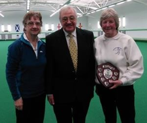 Ladies Singles Champion: Ladies Singles winner: Muriel Cain, with runner-up Ann Gale ( with association president Lionel Cubbon)
