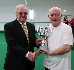 Mens singles Champion: Arthur Halsall (with association president Lionel Cubbon)