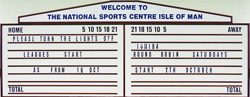 IOMIBA notice board in the NSC bowls hall