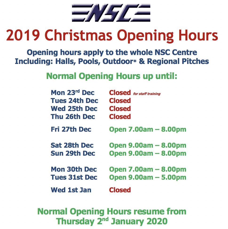 NSC opening hours for Christmas 2019